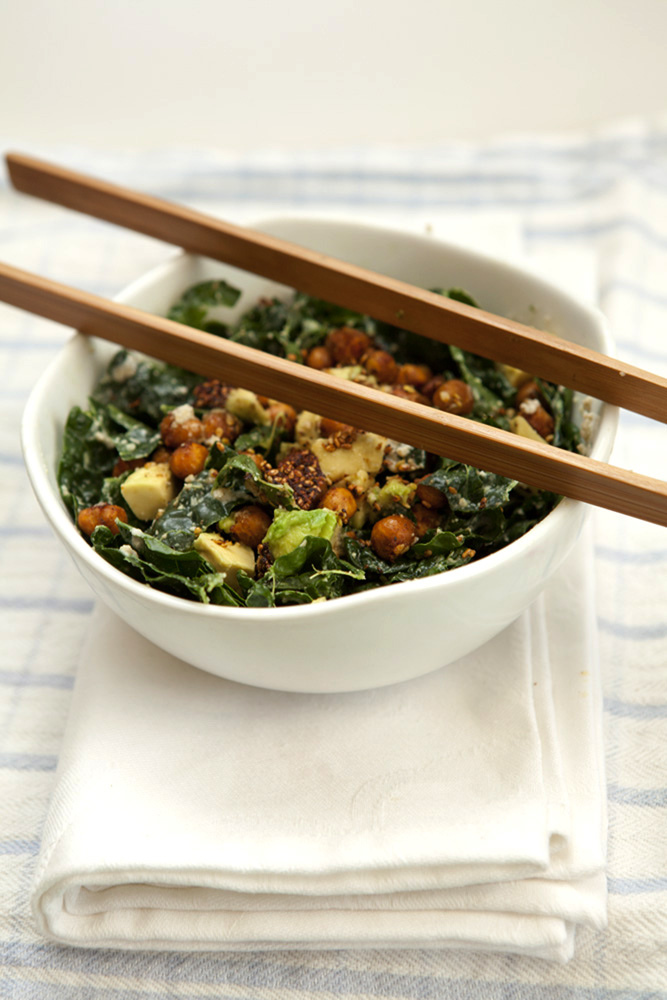 Eat to Beat: Roasted Spiced Chickpeas Over Kale Caesar Salad