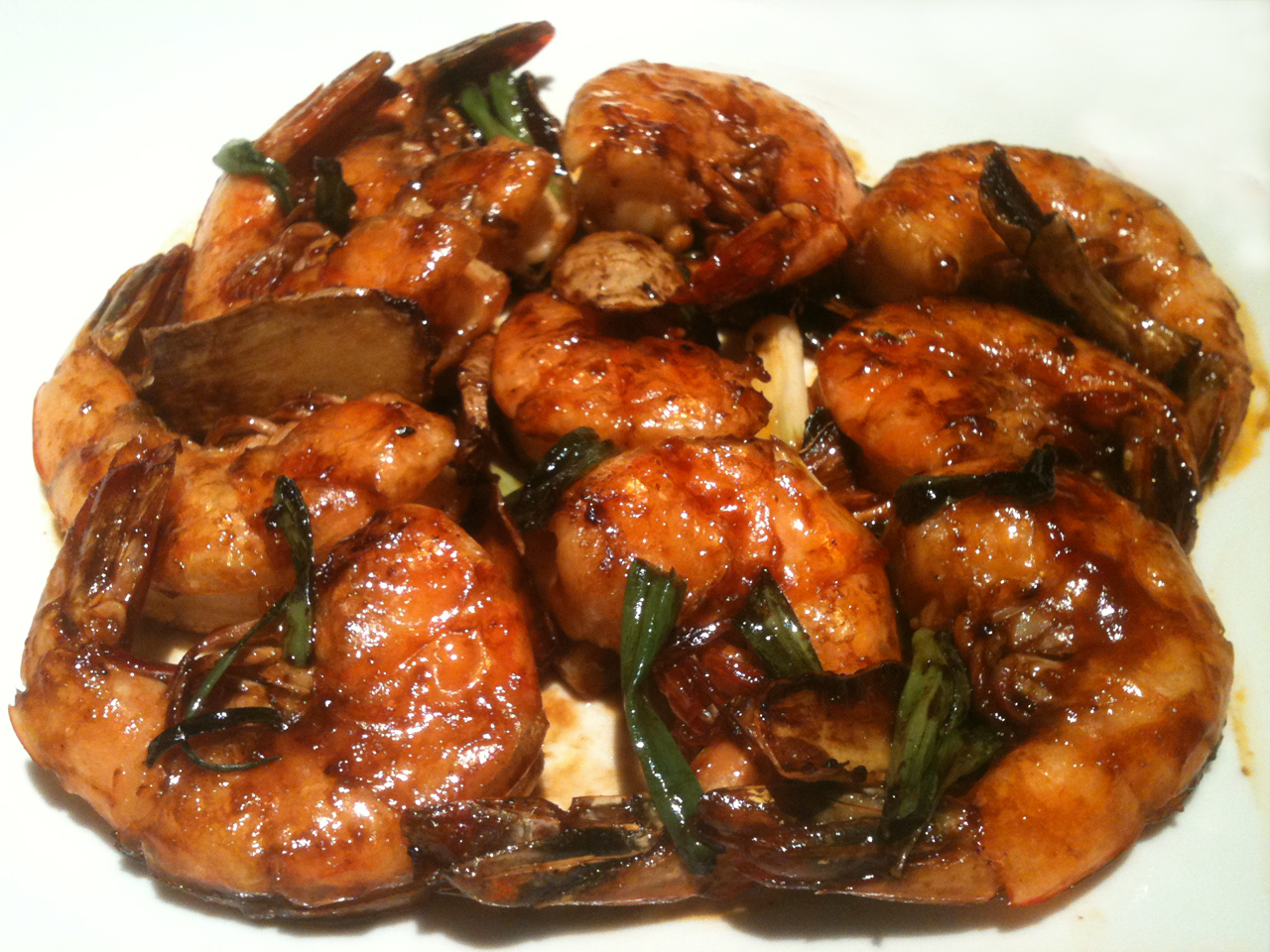 ... Beat: Sweet and Spicy Chinese-style Shrimp with Ginger and Scallions