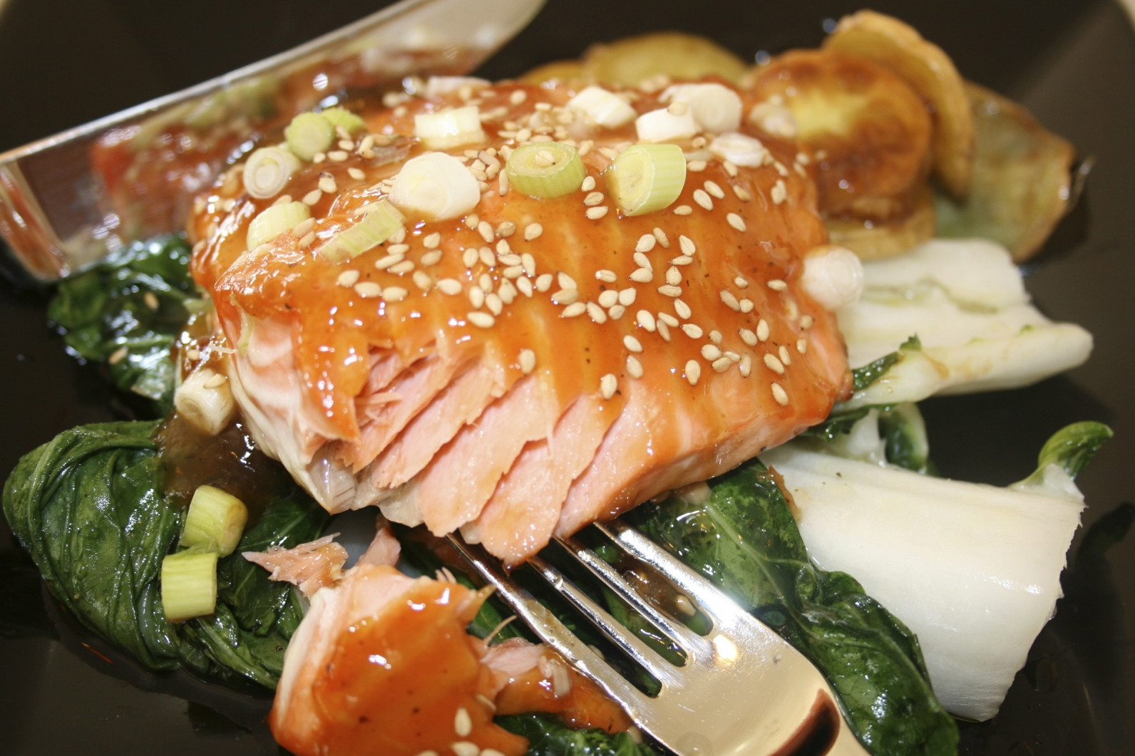 Eat To Beat Asian Salmon Fillets With Bok Choy And Maple Glazed Sweet Potato Medallions